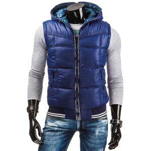 Pánská oboustranná zateplená vesta s kapucí tmavě modrá - Tmavě modrá / M - DSTREET tmavě modrá M