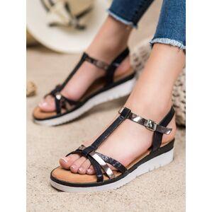 Pěkné černé dámské  sandály bez podpatku 36
