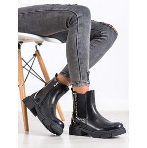 Pěkné dámské černé  kotníčkové boty na plochém podpatku 36