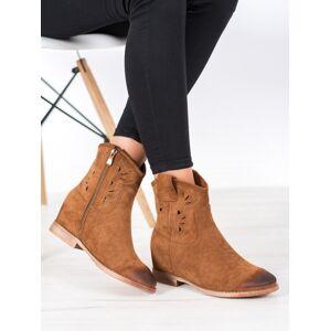 Pěkné  kotníčkové boty dámské hnědé na klínku 36