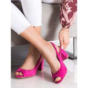 Pěkné růžové dámské  sandály na širokém podpatku 36