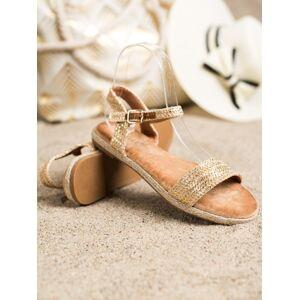 Pěkné zlaté  sandály dámské bez podpatku 36