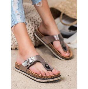 Pohodlné dámské šedo-stříbrné  nazouváky bez podpatku 36