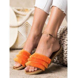 Pohodlné oranžové  nazouváky dámské bez podpatku 36