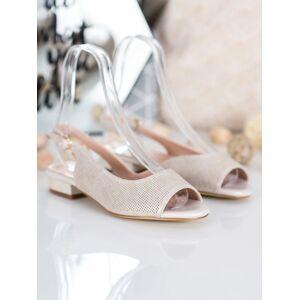 Pohodlné  sandály hnědé dámské na širokém podpatku 38