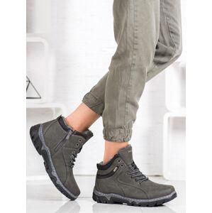 Pohodlné šedo-stříbrné  trekingové boty dámské na plochém podpatku 36