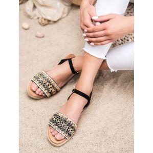 Praktické černé dámské  sandály bez podpatku 39