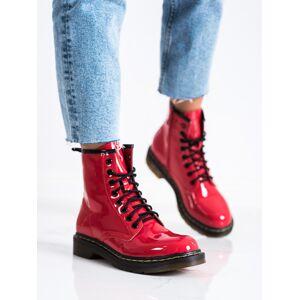 Praktické dámské červené  kotníčkové boty na plochém podpatku 36