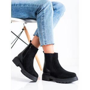 Praktické dámské  kotníčkové boty černé na plochém podpatku 36