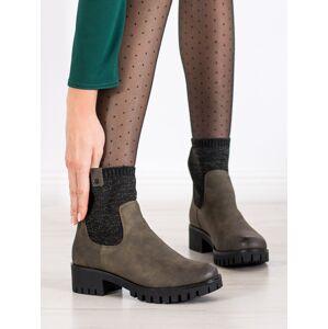 Praktické  kotníčkové boty zelené dámské na širokém podpatku 36