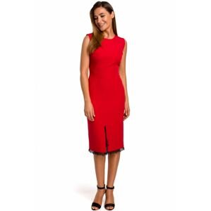 S190 Pencil dress with lace accent  EU L red