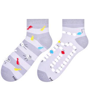 Krátké asymetrické pánské ponožky 035 Šedá 39-42