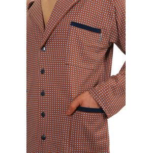 Pánské pyžamo s dlouhými rukávy 2385 GRANITOVĚ BÍLÁ XL