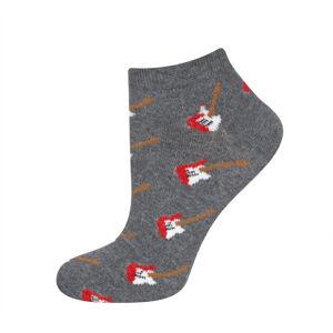 Vzorované ponožky GOOD STUFF - Kytary šedá/červená 40-45