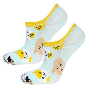 Dámské ponožky SOXO - Kočičky MODRÁ / ŽLUTÁ 35–40