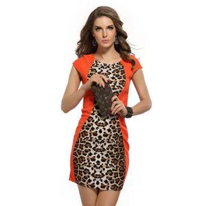 Párty a společenské šaty BETHAN s leopardím vzorem oranžové typ-1 - Oranžová / S - LOVER S