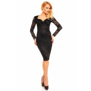 Společenské a plesové šaty MAYAADI Deluxe krajkové středně dlouhé černé - Černá / S - MAYAADI S