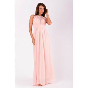 Společenské dámské šaty EVA&LOLA bez rukávů dlouhé růžové - Růžová - EVA&LOLA L