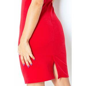 Společenské dámské šaty NOTCH s krátkým rukávem SAF-132-2 červená XL