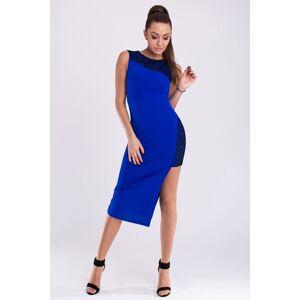 Společenské šaty dámské značkové EMAMODA zdobené krajkou modré - Modrá / L - EMAMODA modrá L