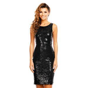 Společenské šaty flitrové značkové MAYAADI bez rukávu černé - Černá - MAYAADI černá XL