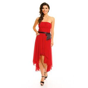 Společenské šaty korzetové MAYAADI s mašlí a asymetrickou sukní červené - Červená - MAYAADI červená XL