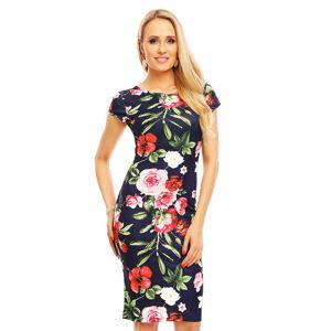 Společenské šaty květinové s krátkými rukávy středně dlouhé tmavě modré - Tmavě modrá / S/M - Beauty Fashion tmavě modrá S/M