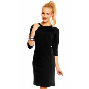 Společenské šaty WIKTORIA zdobené ve výstřihu středně dlouhé černé - Černá - Lental černá 40