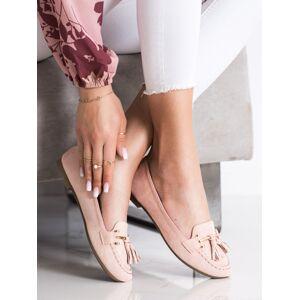 Stylové dámské růžové  mokasíny bez podpatku 37