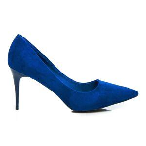 Stylové modré dámské  lodičky na jehlovém podpatku
