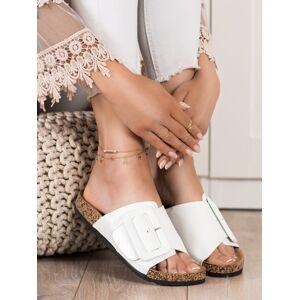 Trendy bílé  nazouváky dámské bez podpatku 36