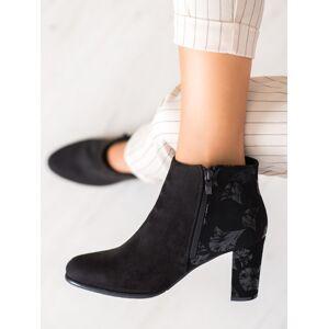 Trendy černé dámské  kotníčkové boty na širokém podpatku 36