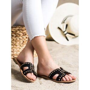 Trendy dámské černé  nazouváky na plochém podpatku 37