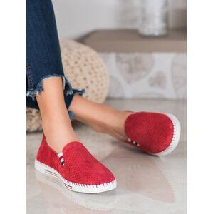 Trendy dámské červené  tenisky bez podpatku 41