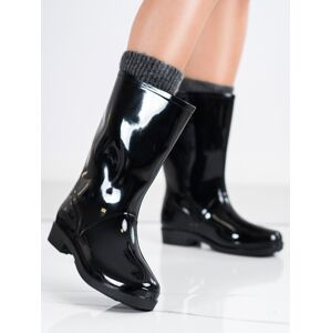 Trendy dámské  gumáky černé na plochém podpatku 37