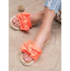 Trendy dámské oranžové  nazouváky bez podpatku 37