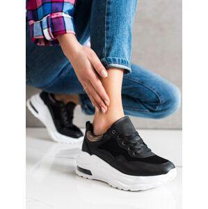Trendy dámské  tenisky černé bez podpatku 37
