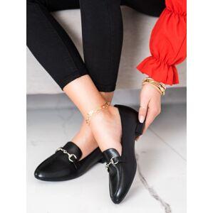 Trendy  mokasíny černé dámské na plochém podpatku 41