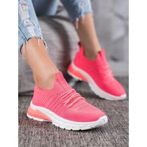 Trendy růžové dámské  tenisky bez podpatku 36
