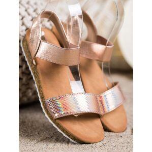 Trendy  sandály dámské zlaté bez podpatku 36