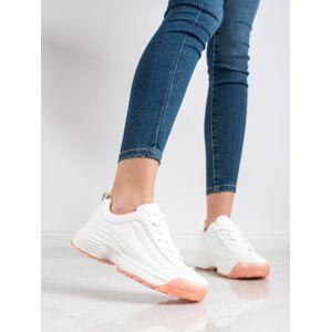 Trendy  tenisky dámské bílé bez podpatku 36