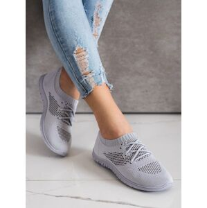Trendy  tenisky šedo-stříbrné dámské bez podpatku 41