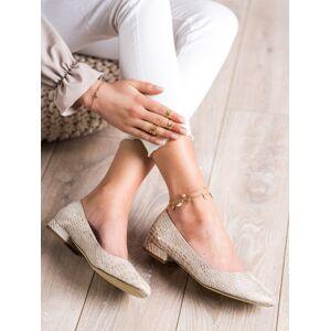 Trendy zlaté dámské  lodičky na plochém podpatku 36