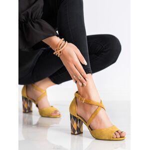 Trendy zlaté  lodičky dámské na širokém podpatku 38