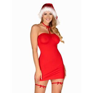 Vánoční kostým Kissmas chemise red - Obsessive červená L/XL