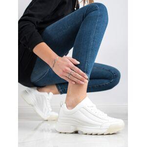 Výborné bílé  tenisky dámské bez podpatku 40