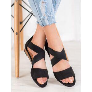 Výborné černé dámské  sandály bez podpatku 38