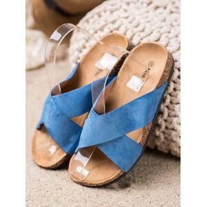 Výborné dámské modré  nazouváky bez podpatku 38