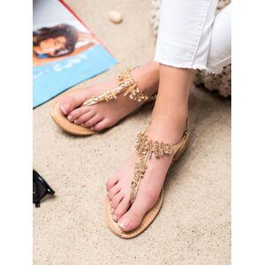 Výborné dámské  sandály zlaté bez podpatku 39