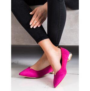 Výborné  lodičky dámské růžové na plochém podpatku 37